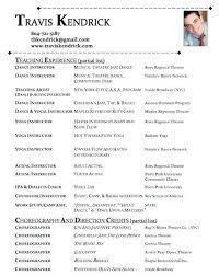 Choreographer Sample Resume
