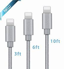 iphone charger. avolare 3pack 3ft 6ft 10ft durable iphone charger cable nylon braided sync and charging cord with
