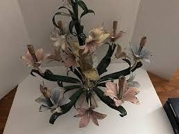 vintage italian tole metal painted flowers 6 light electric hanging chandelier