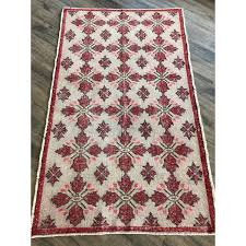 off white w red and pink muted vintage handmade turkish rug 4 4 x7 3