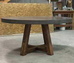 60 round with 3 a edge in pewter concrete and honey stained poplar wood base