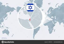 World Map Centered America Magnified Israel Blue Flag Map Israel