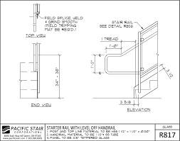 r817 glass rail starter rail with level off handrail