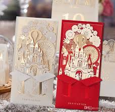 Weding Card Designs Unique 3d Laser Castle Wedding Invitations Cards Laser Cut 2016 Cheap Personalized Wedding Invitation Card Designs Greeting Cards Online Greeting