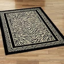 wild zebra rectangle rug black ivory
