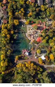 Aerial view, Maximilian Park, former Maximilian mine in autumn ...
