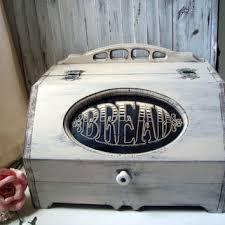 vintage wooden bread box shabby chic cream distressed bread sto