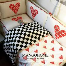 baby bedding set 3pcs set baby crib bedding set simply style sweet heart and black plaid