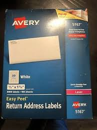 Avery 5167 Labels Avery Easy Peel Laser Address Labels 1 2 X 1 3 4 White 8000 Box