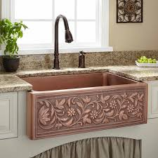 30 vine design copper farmhouse sink