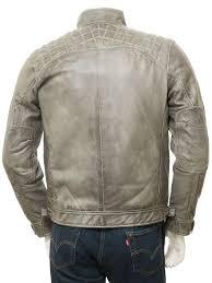 men s grey leather biker jacket sibiu back