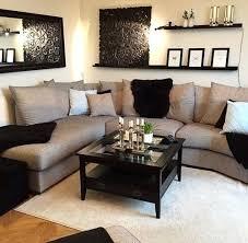 living room wall shelves black sofa decor simple cream tan decorating ideas leather