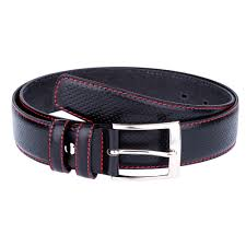 black perforated leather belt casual suit red stitch capo pelle mens belts first image jpg