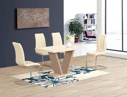 cream high gloss glass dining table and 6 chairs homegenies cream dining table set