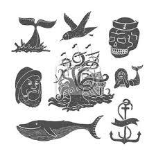 Fototapeta Mořské Motivy A Tetování Námořník Oceán Chobotnice Velryba