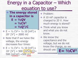 energy in a capacitor which equation to use