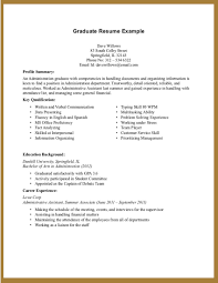 Resume Examples For College Graduates With Little Experience