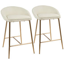 cream counter stools. Plain Cream Gold And Cream Fabric Upholstered Counter Stool Set Of 2 With Stools The Home Depot