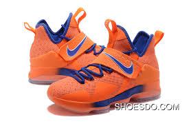 Men Nike Lebron James 14 Orange Blue Shoes Online Price