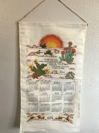 1979 Design Yesterdays Sanskrit Vintage 1979 Kitchen Calendar Tea Towel