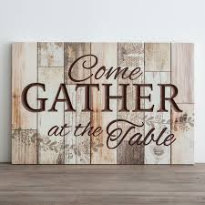 come gather at the table wooden wall art