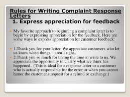 response to complain letter 4 rules for writing complaint response letters 1 express appreciation