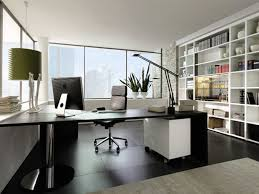 minimalist office design. perfect interior office with compleetd furniture and wall shelves minimalist design i