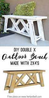 Build a cute little DIY outdoor bench for your porch or entry. Use 2x4's (