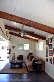 vaulted ceiling wood beams. Delighful Ceiling Garage Converted Man Cave With Exposed Timber Beams Installed On A White  Plank Ceiling With Vaulted Ceiling Wood Beams