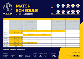 Asia Cup Chart The Icc To Televise Icc Cricket World Cup Qualifier Matches