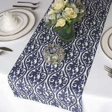 navy blue lace table runner pattern on white rectangle wood wedding table cover ideas