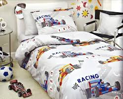 custom double queen size grey dark blue red yellow racing cars printed kid bedding set for bedding set