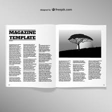 Blank Magazine Article Template Opened Magazine Blank Page Template Vector Free Download