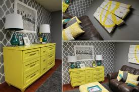 diy yellow and gray wall decor. a diy stenciled accent wall using the rabat allover stencil pattern. http:// diy yellow and gray decor b