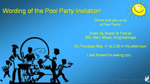 invitation for a party pool party invitation wording youtube