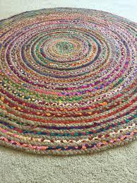 round rag rug boho chic hippie area vegan circle colorful jute with regard to floor rugs