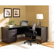white gray solid wood office. White Shade Table Lamp Home Decor Largesize Dark Gray Solid Wood Corner Computer Desk With Three Portable Drawers Office E
