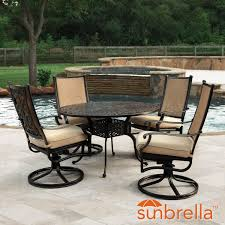 bocage 5 piece cast aluminum sling patio dining set w 48 inch round table swivel rockers sunbrella heather beige cushions by lakeview outdoor designs