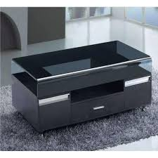 black glass top coffee table with 3 drawers living room
