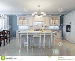Bright Art Deco Kitchen Design Glass Front Cabinets Stainless Steel  Appliances White Marble Countertops Brick