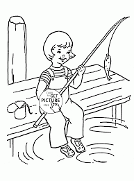 Funny Summer Fishing Coloring Page For Kids Seasons Coloring Pages