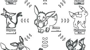 Eeveelutions Coloring Pages Pokemon Eevee Evolutions Glaceon