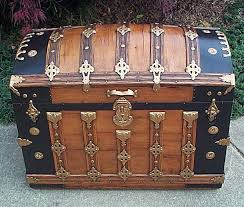 303 wooden dometop antique trunk