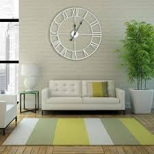 large mdf wall clock silver metal roman