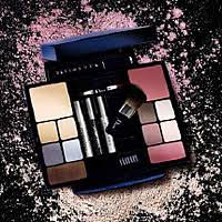 travel studio makeup palette incorporates a new blue and silver design conning the best selling shades