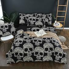 black and white sugar skull bedding set king size duvet cover sets queen size bedding without comforter and pillows filling insert white comforter set queen