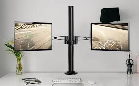 made of high grade steel and aluminum vemount dual monitor desk mount ensures a strong and le connection with your monitor screen
