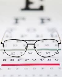 Close Up Of Glasses On Eye Chart Studio Shot 1 Poster