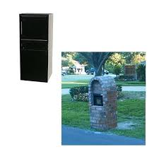 Dvault Mailbox Black Post Column Mount Locking With Outgoing Mail  Compartment And Carrier Service Flag14