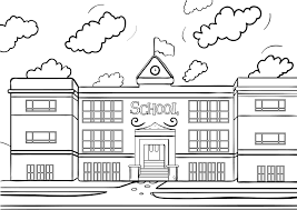 Exciting School House Coloring Page Printable Pages Wagashiya 1